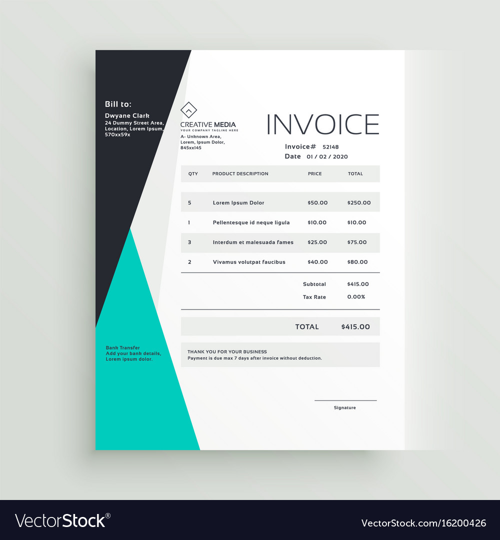 Elegant Business Invoice Template Creative Design Vector Image - Elegant invoice template