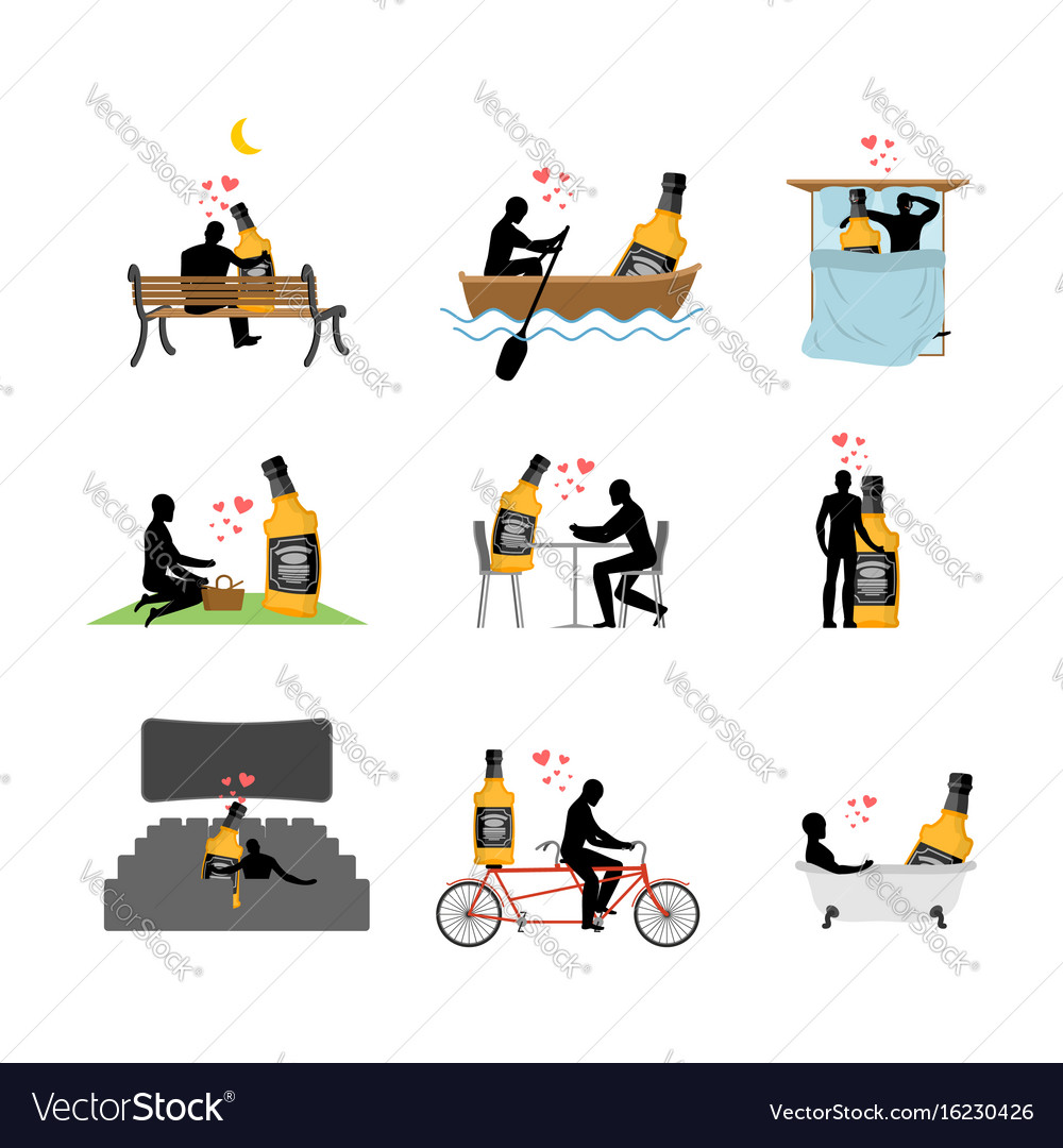 Lover alcohol drink set man and whiskey in movie vector image