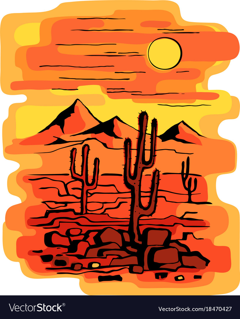 Cacti at sunset vector image