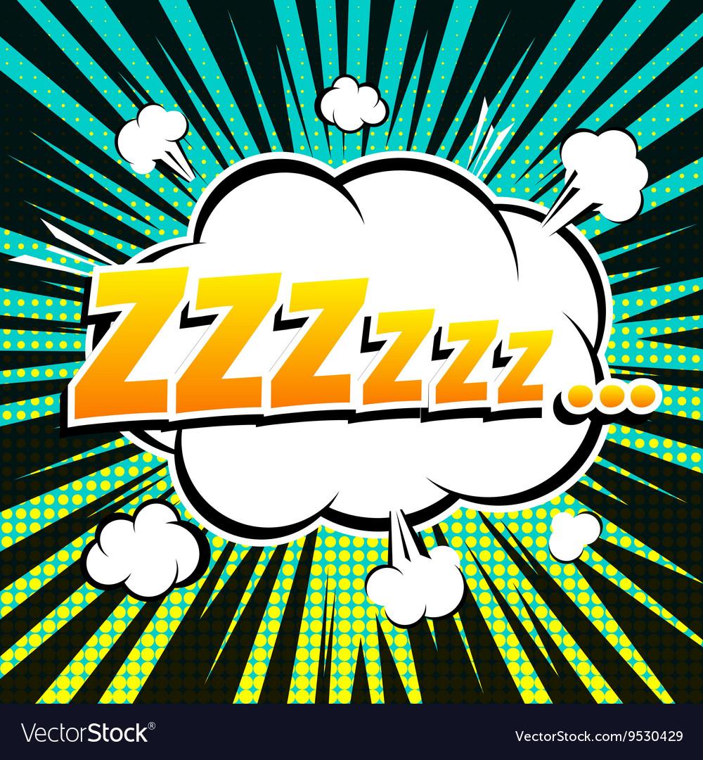 Zzz comic book bubble text retro style vector image
