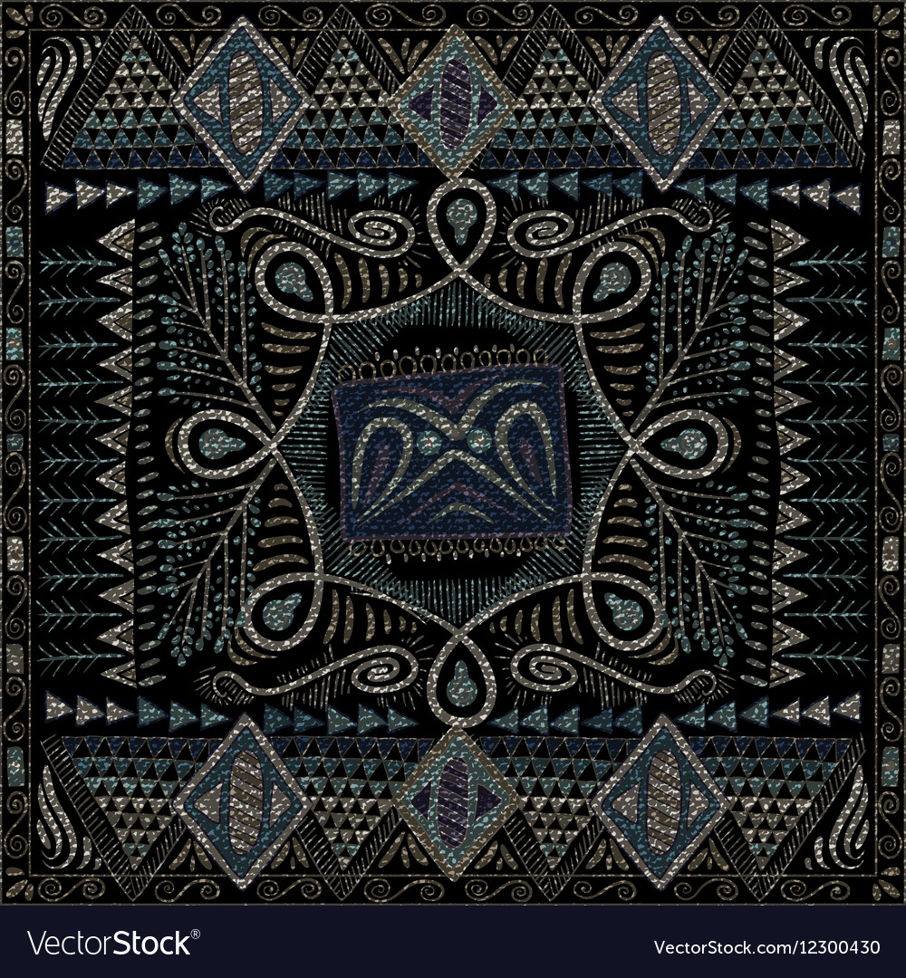 Ethnic seamless pattern dark backdrop Hand drawn vector image
