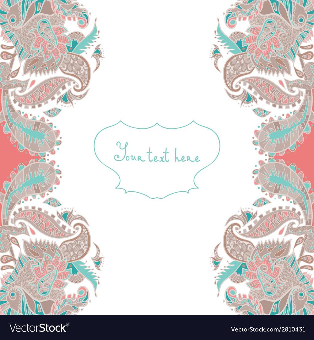 Ornamental invitation card vector image