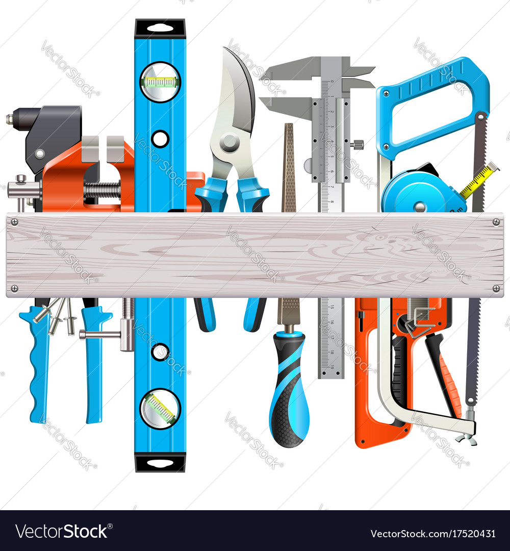 Wooden plank with hand tools vector image