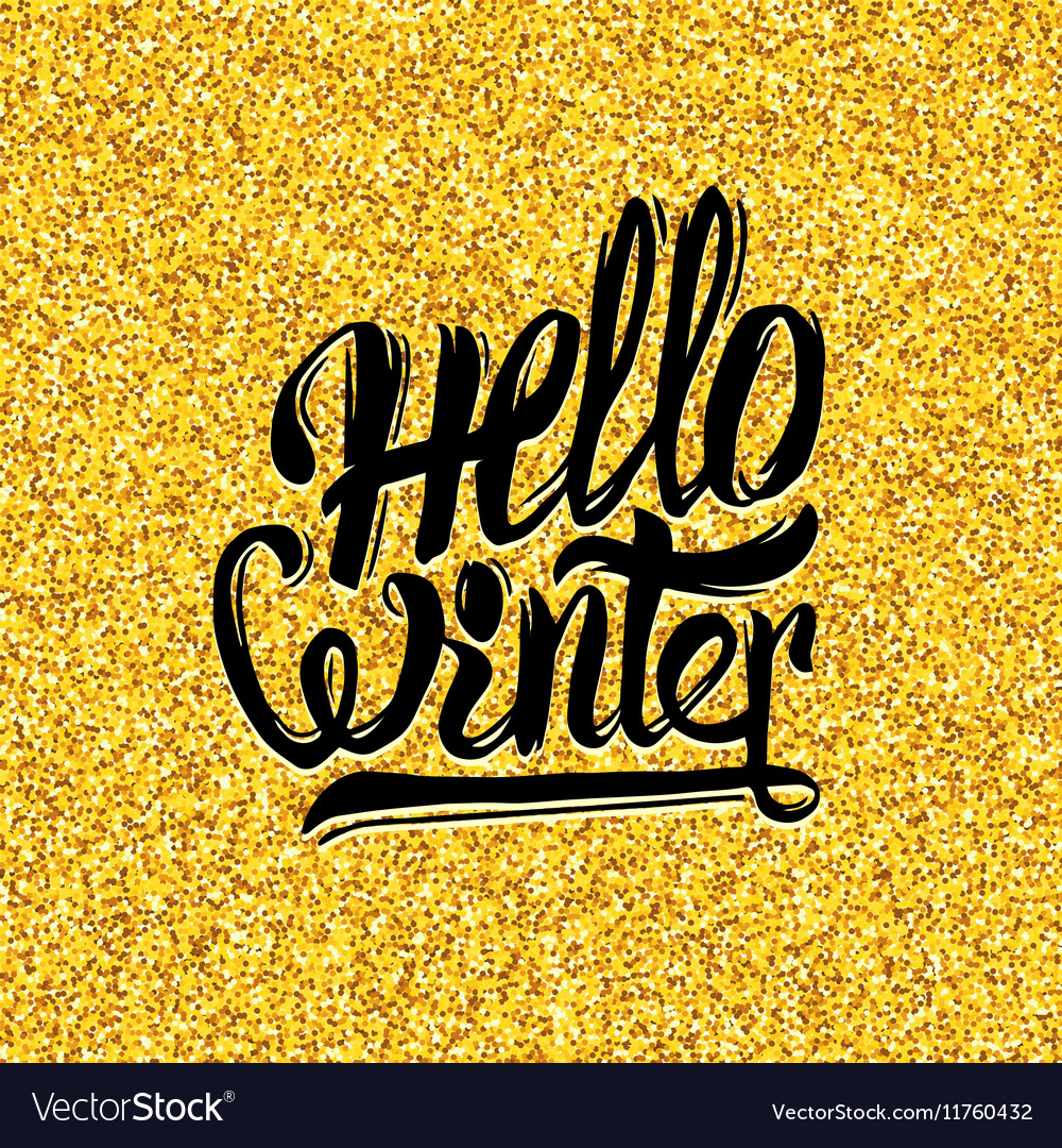 Hello winter typography on gold tinsel background vector image
