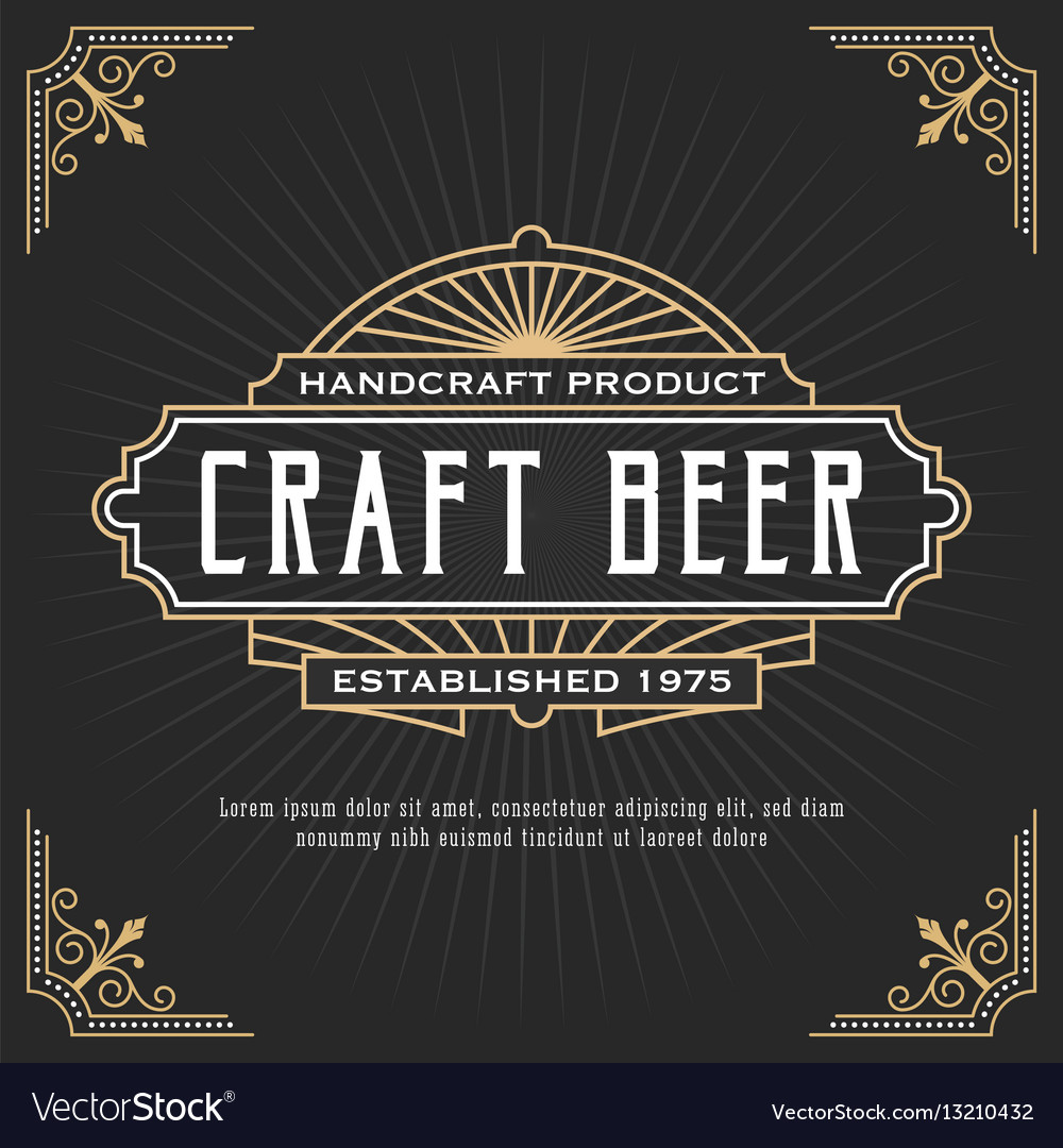 Vintage line frame design for label banner vector image