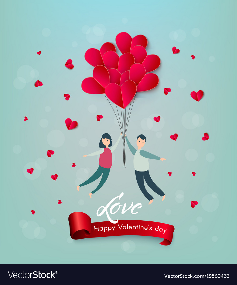 Happy valentines day paper heart couple vector image