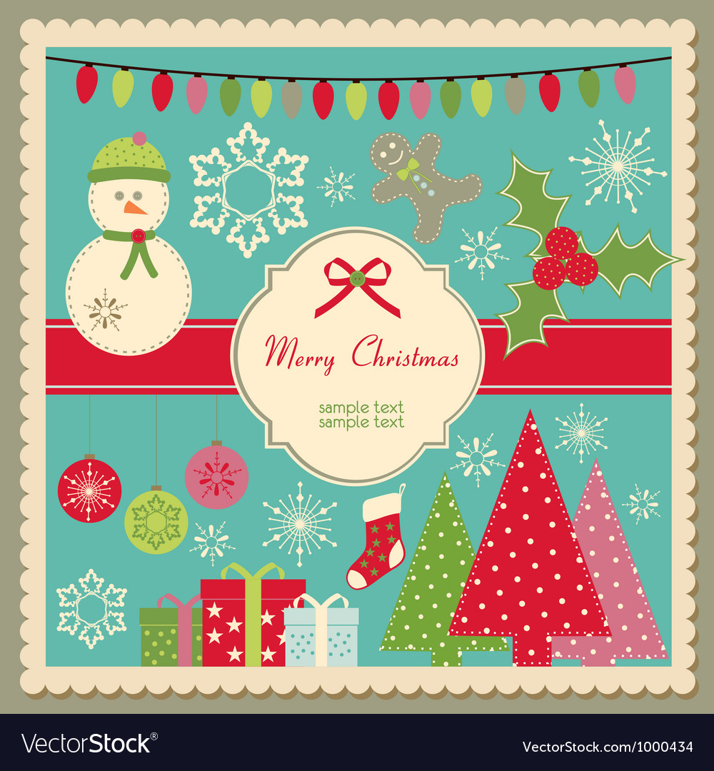 Cute Christmas card vector image