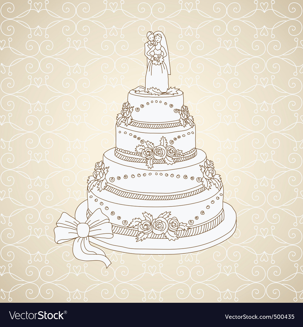 wedding cake vector wedding cake royalty free vector image vectorstock 26758