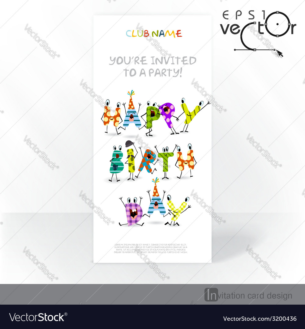 Party Invitation Card Design Template Royalty Free Vector