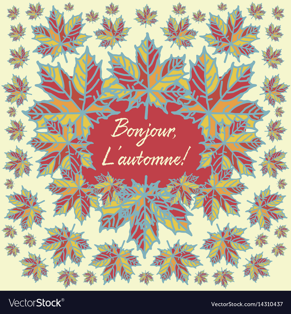 Autumn card with quote in french language vector image