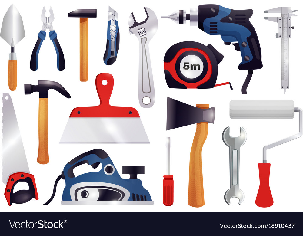 Repair renovation carpentry tools set vector image