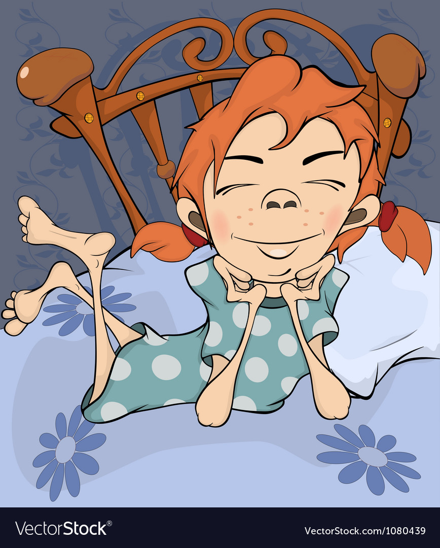The girl on a bed vector image