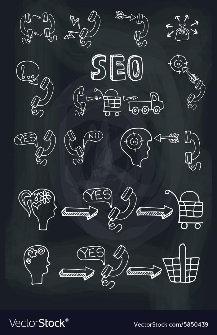 Doodle scheme main activities telephone marketing vector image