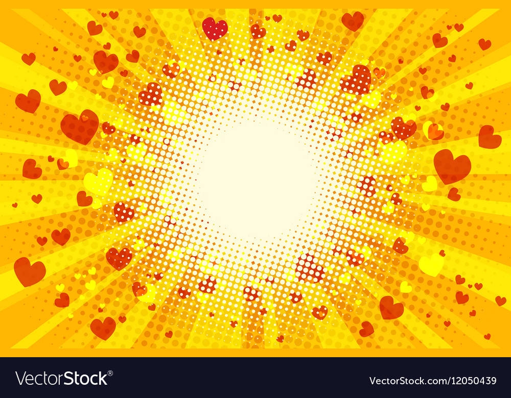 Valentine heart background pop art retro vector image