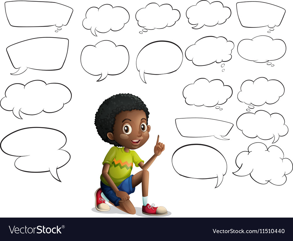 Boy and many speech bubbles vector image