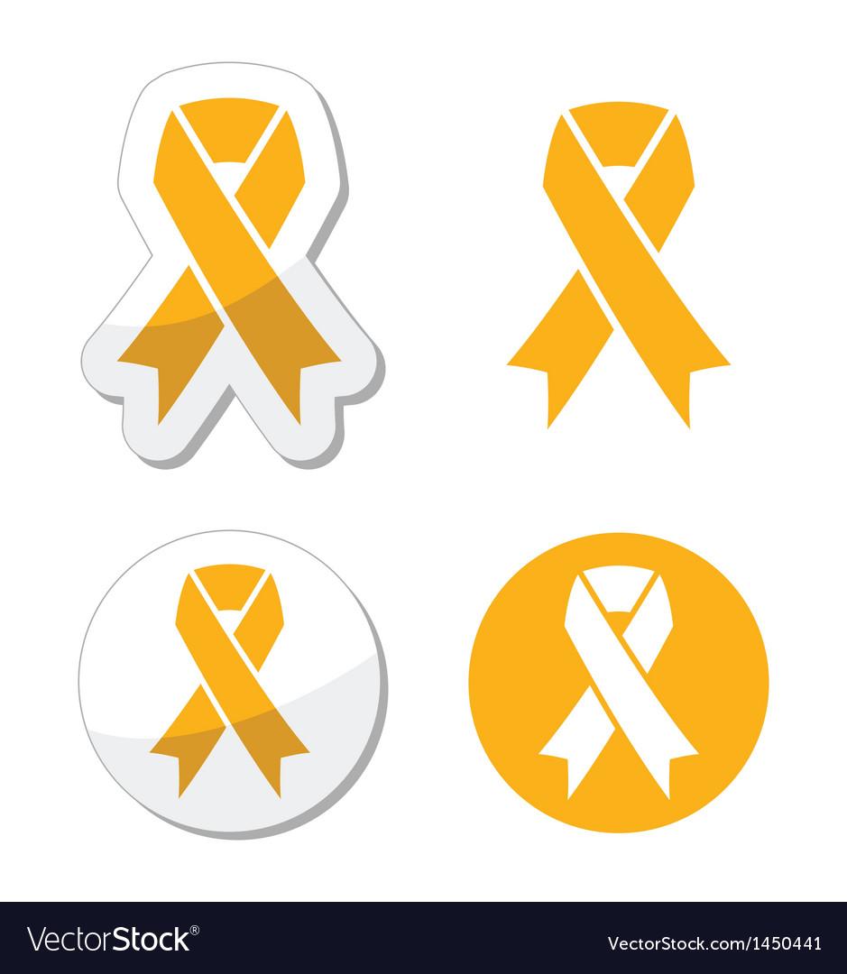 Gold ribbon - childhood cancer symbol vector image