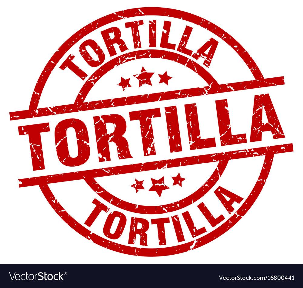 Tortilla round red grunge stamp vector image