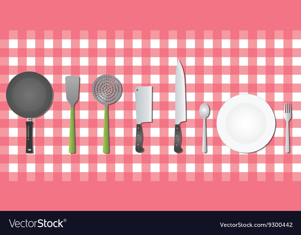 Kitchen set tools utensil on table vector image