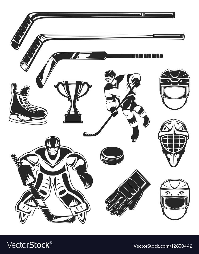 Set of black hockey icon vector image