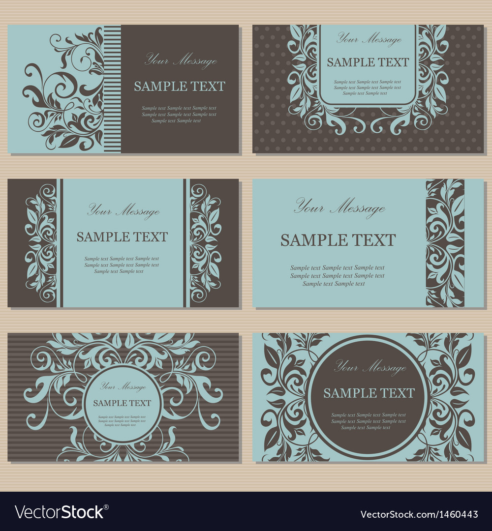 Set of six floral business cards Vector Image