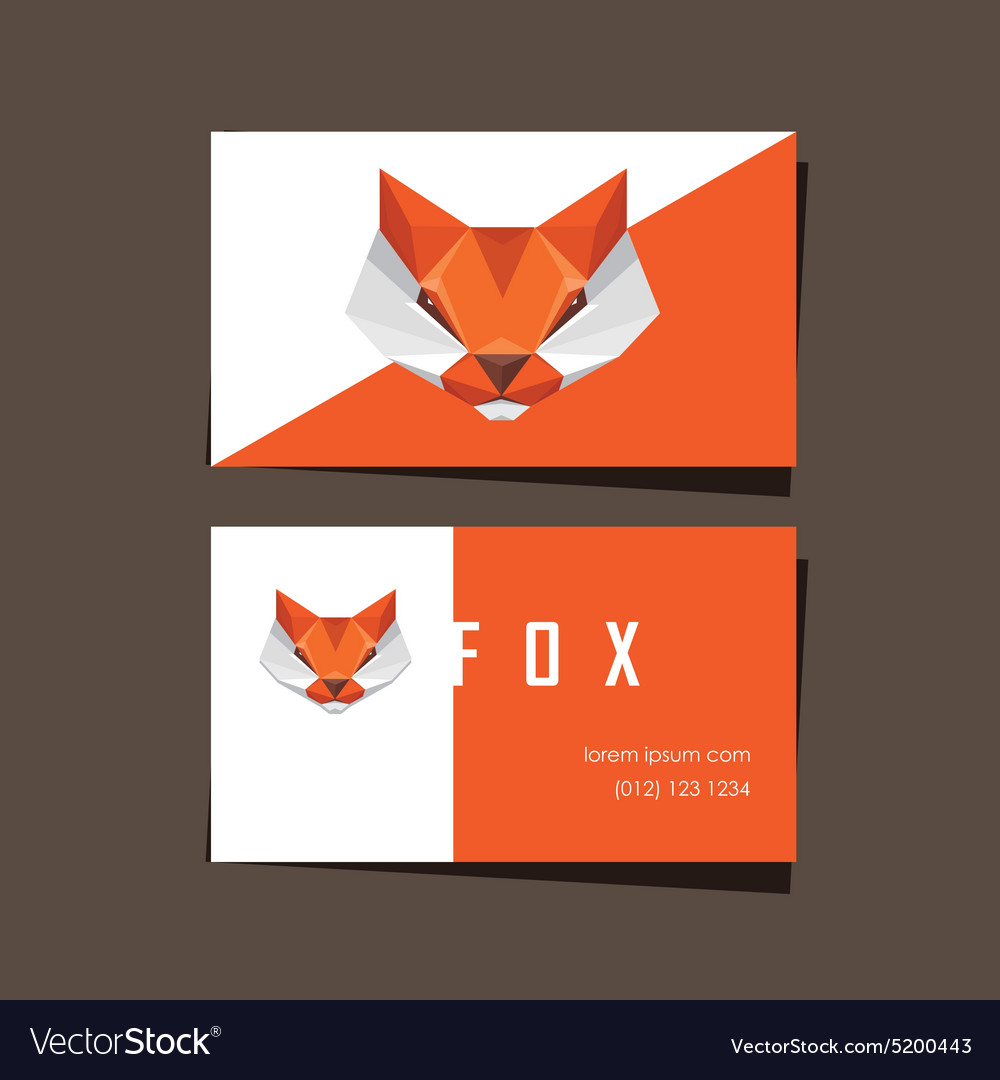 3d origami low polygon fox business card vector image jeuxipadfo Gallery
