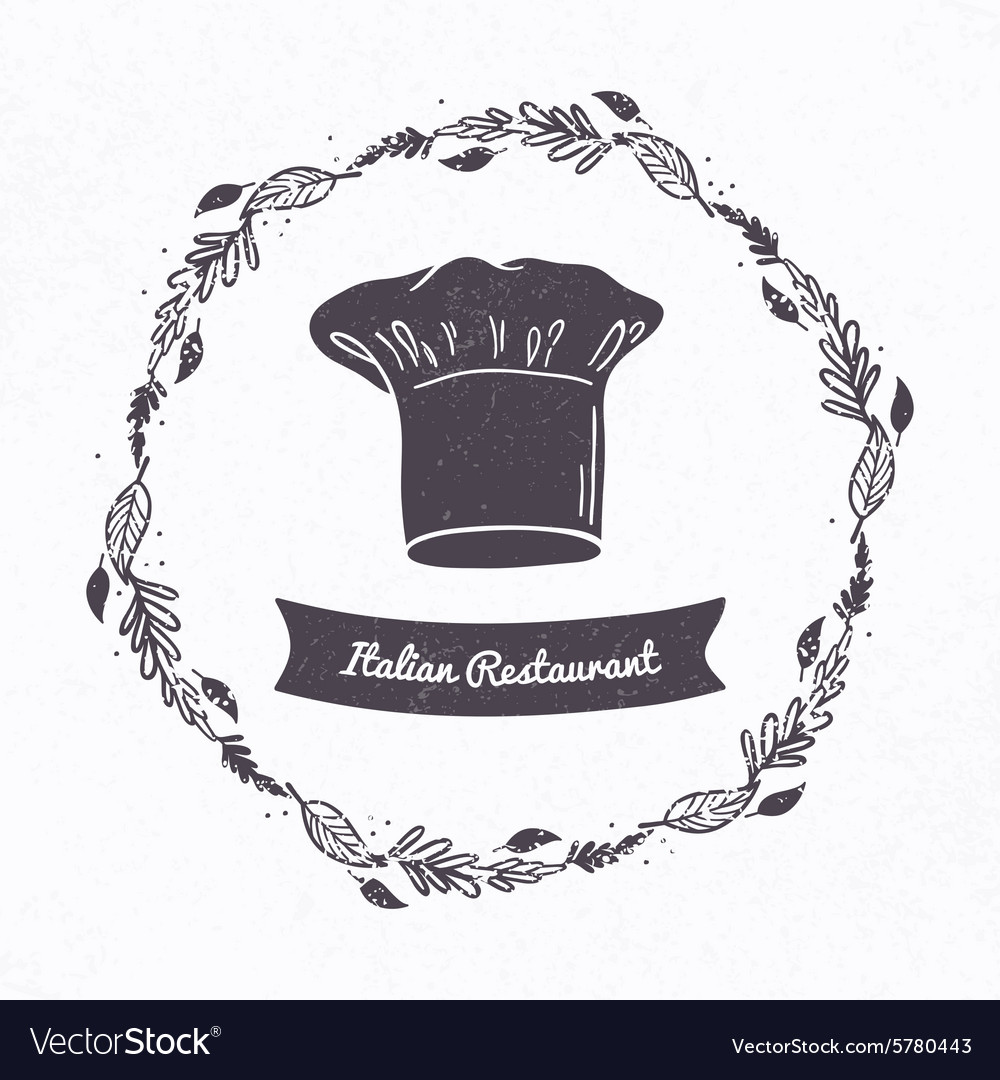 Hand drawn textured chef hat Floral frame and vector image