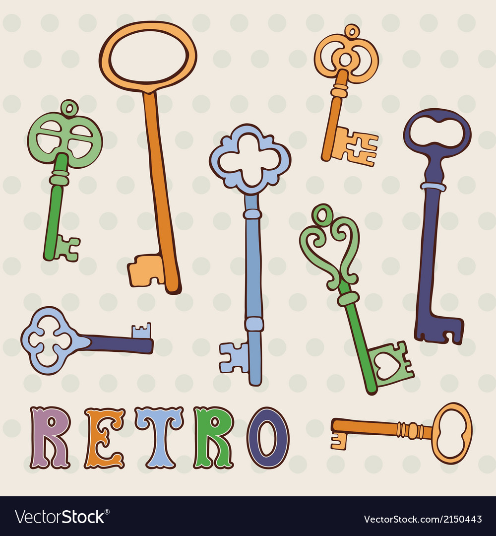 Retro keys collection vector image
