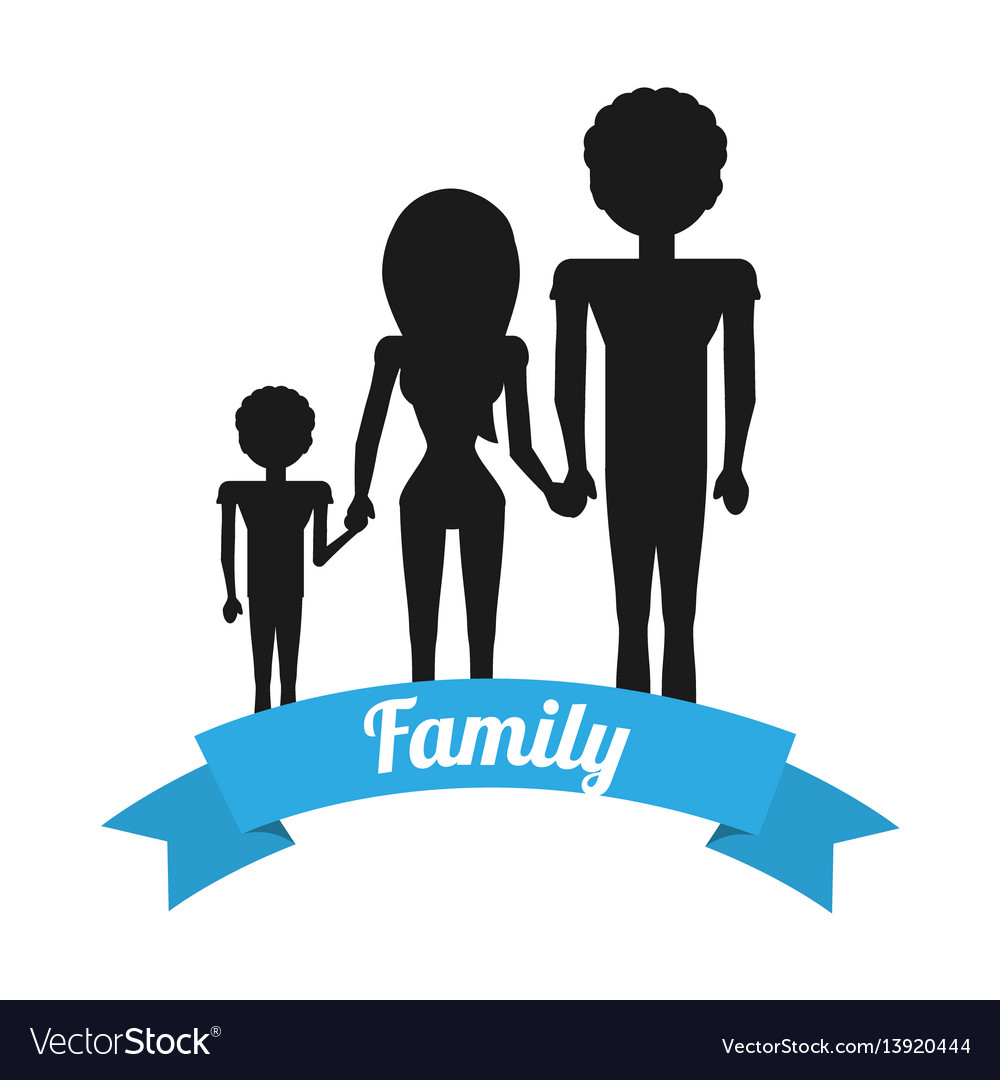 Silhouette family hands holding ribbon vector image