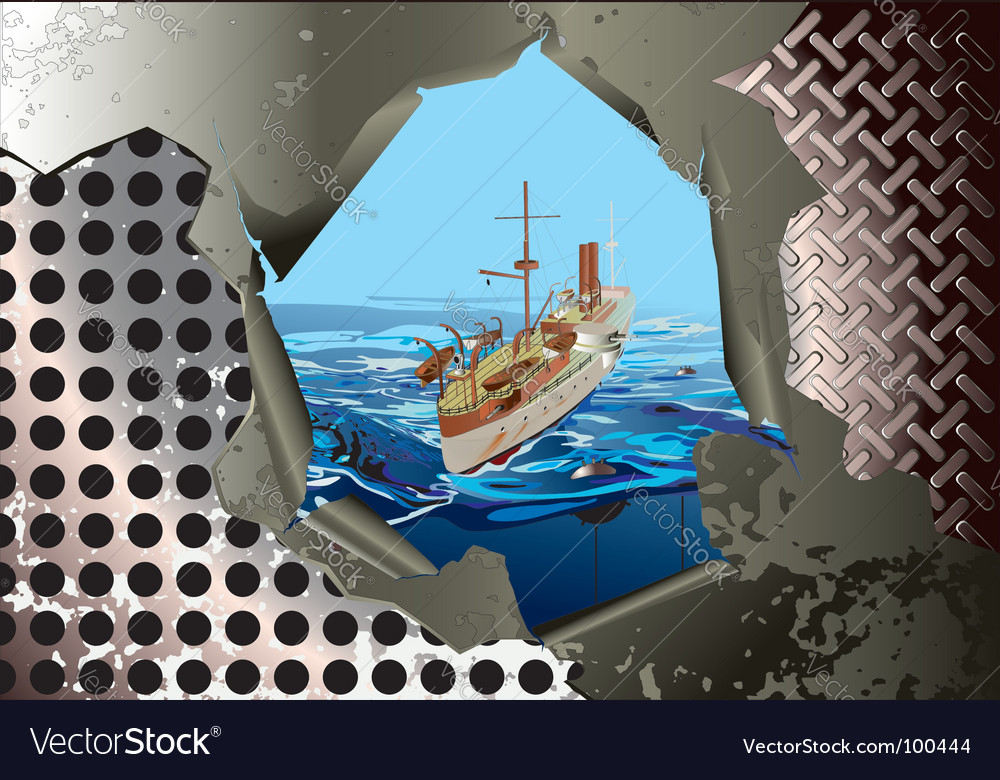 Steel background with warship vector image
