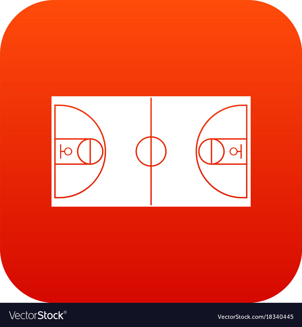 Basketball field icon digital red vector image