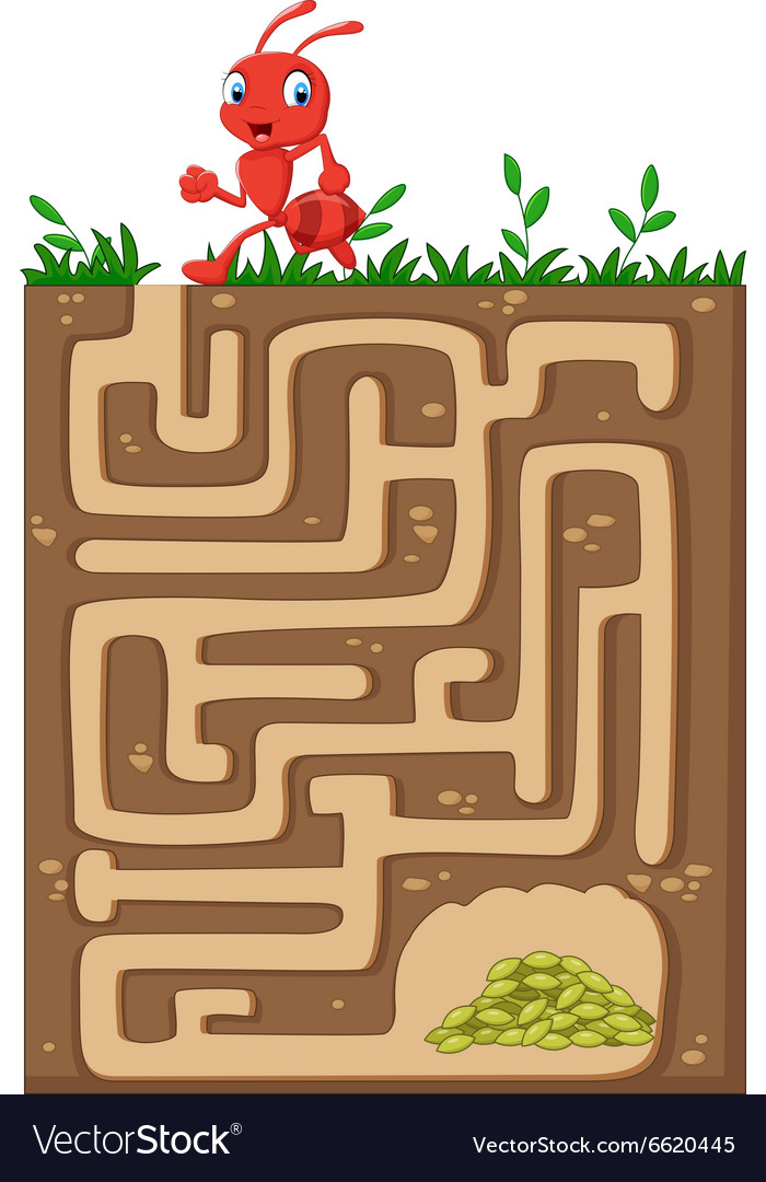 Help red ant to find way to food grains vector image