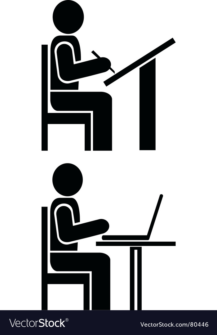 Man writes pictogram symbol vector image