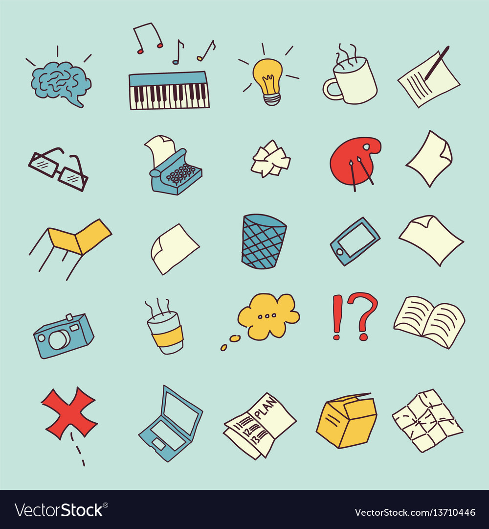 Creating process icon set vector image