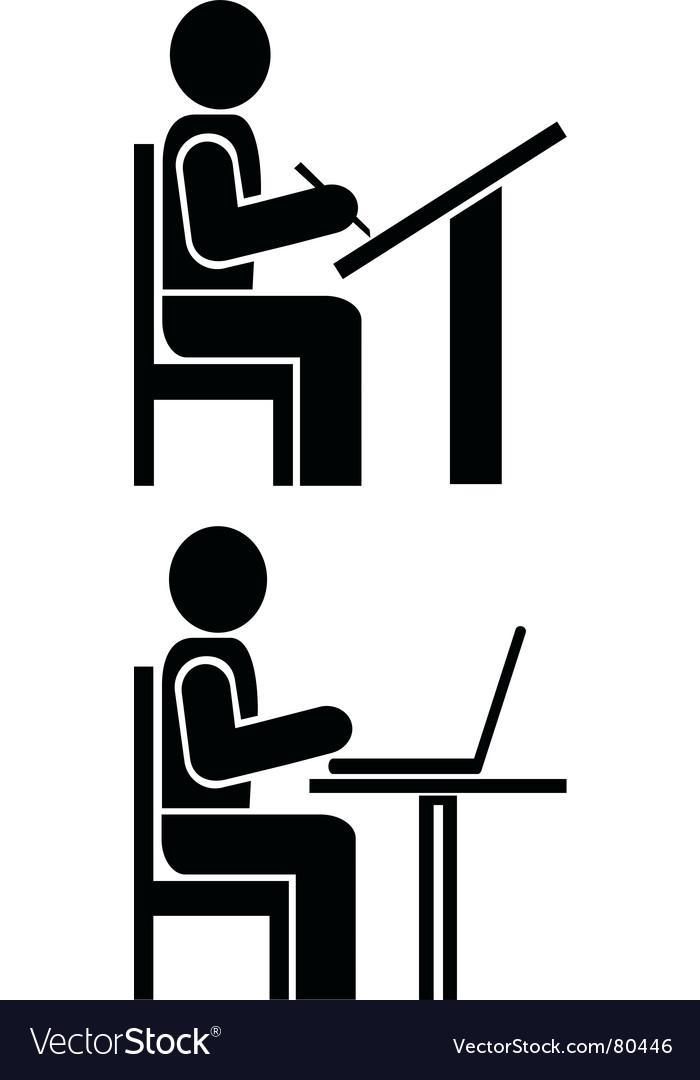 Man writes pictogram symbol vector image