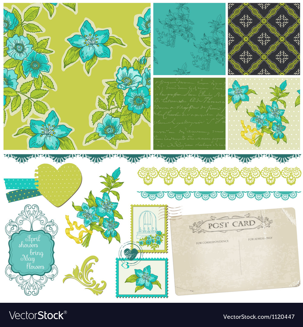 Scrapbook Design Elements - Blue Flowers Vector Image