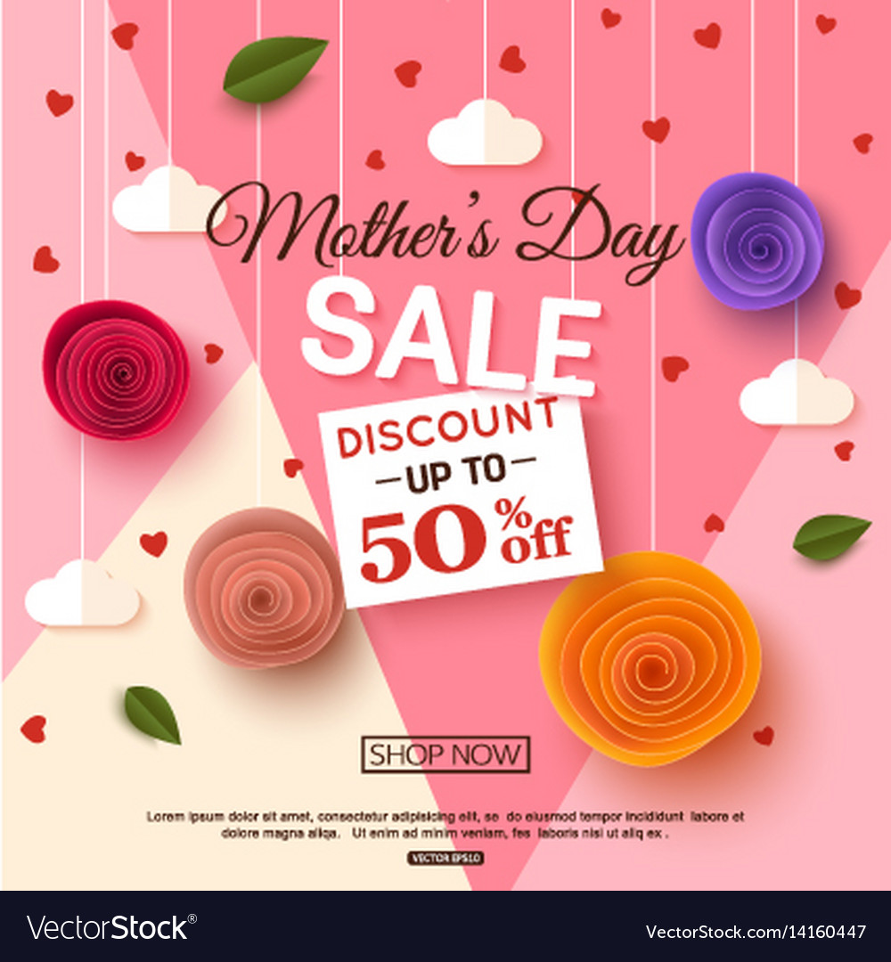 Mothers Day Storewide Sale Template: Mothers Day Sale Banner Template Royalty Free Vector Image