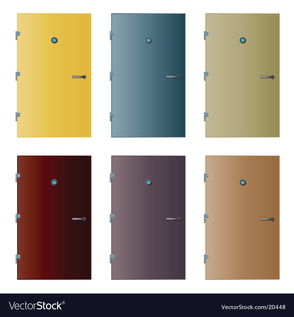 Various isolated detailed doors vector image