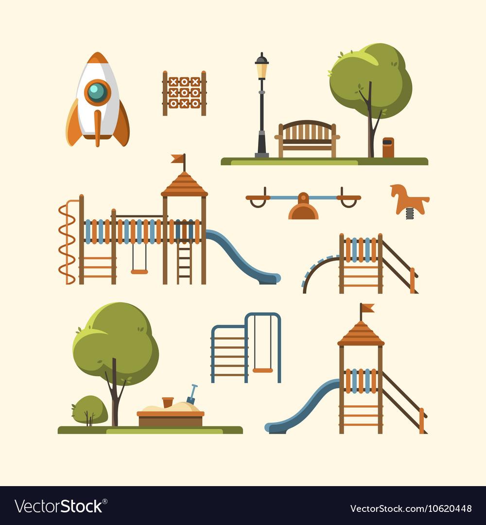 Kids playground City park set vector image