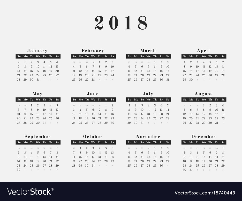 Horizontal Calendar Design : Year calendar horizontal design royalty free vector