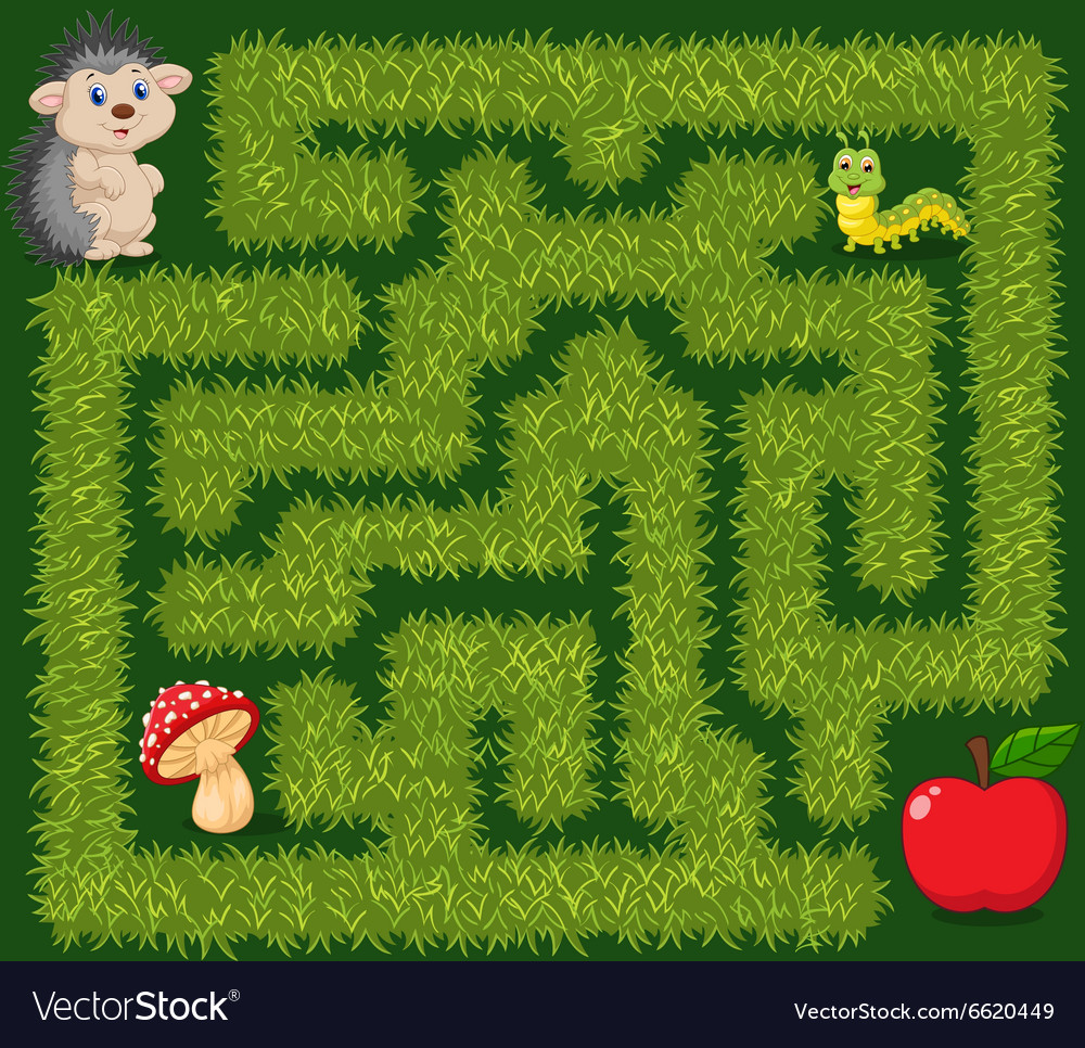 Help hedgehog to find way to apple fruit vector image