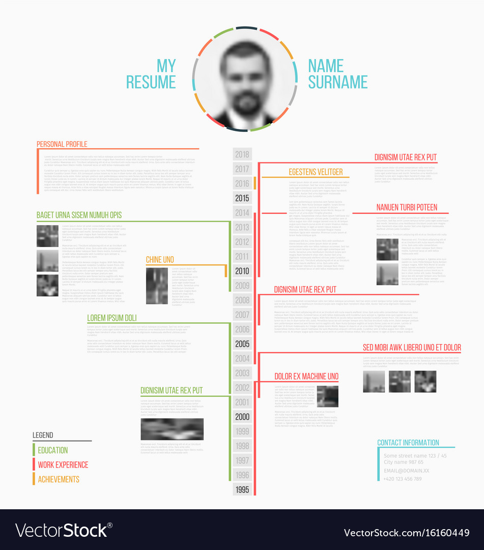 Timeline Minimalist Cv Resume Template Royalty Free Vector - Timeline resume template