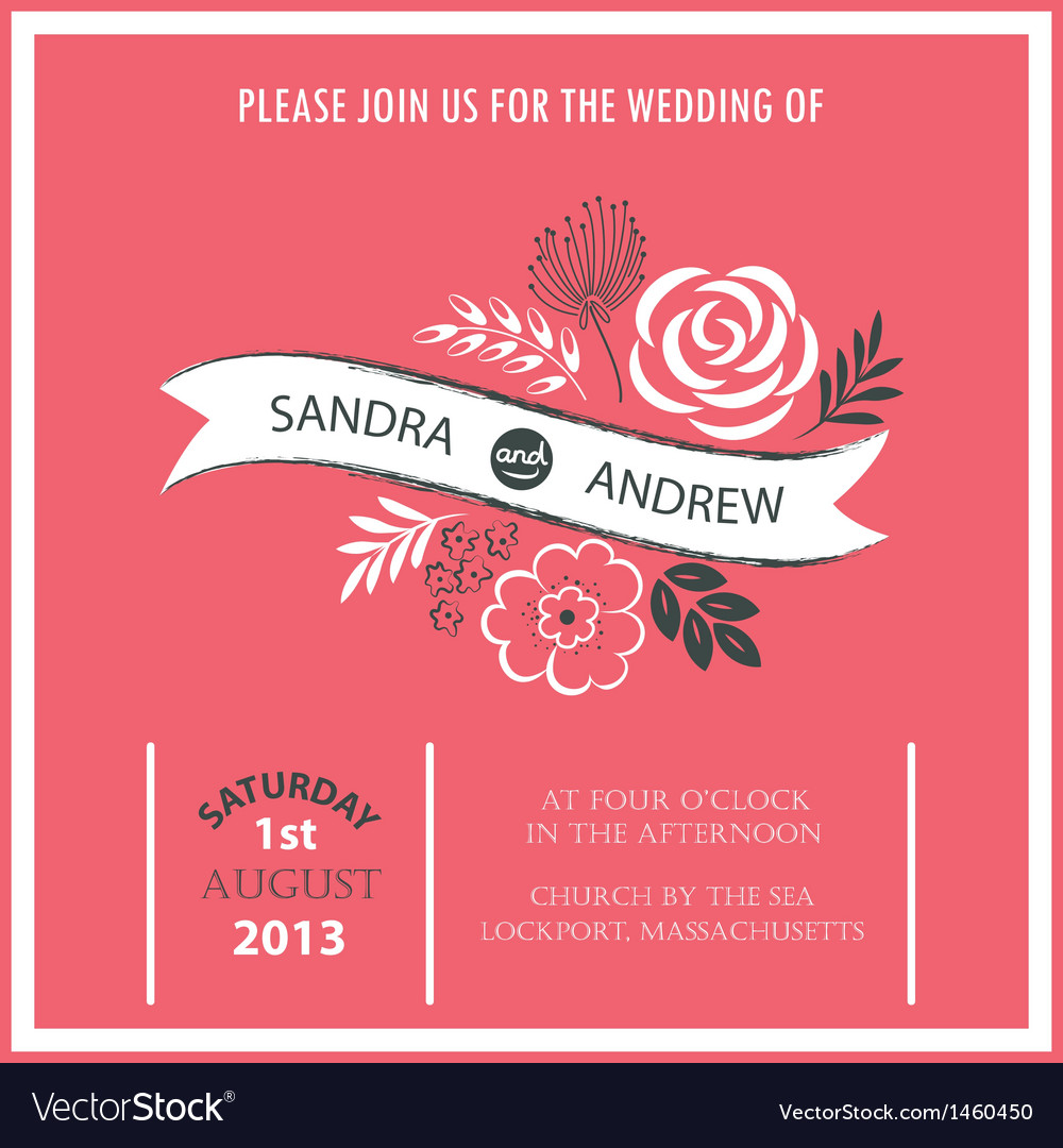 Wedding invitation or announcement vector image