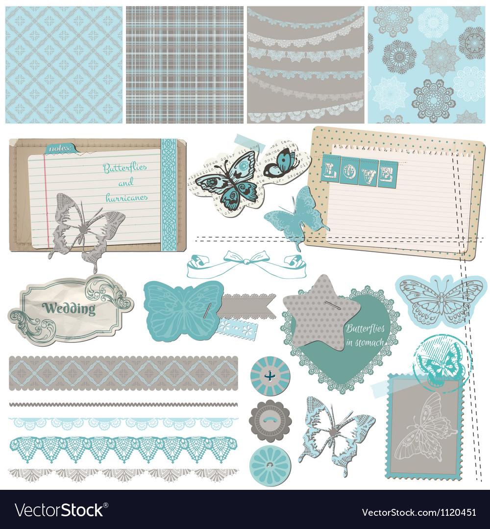 Design Elements - Vintage Lace Butterflies vector image