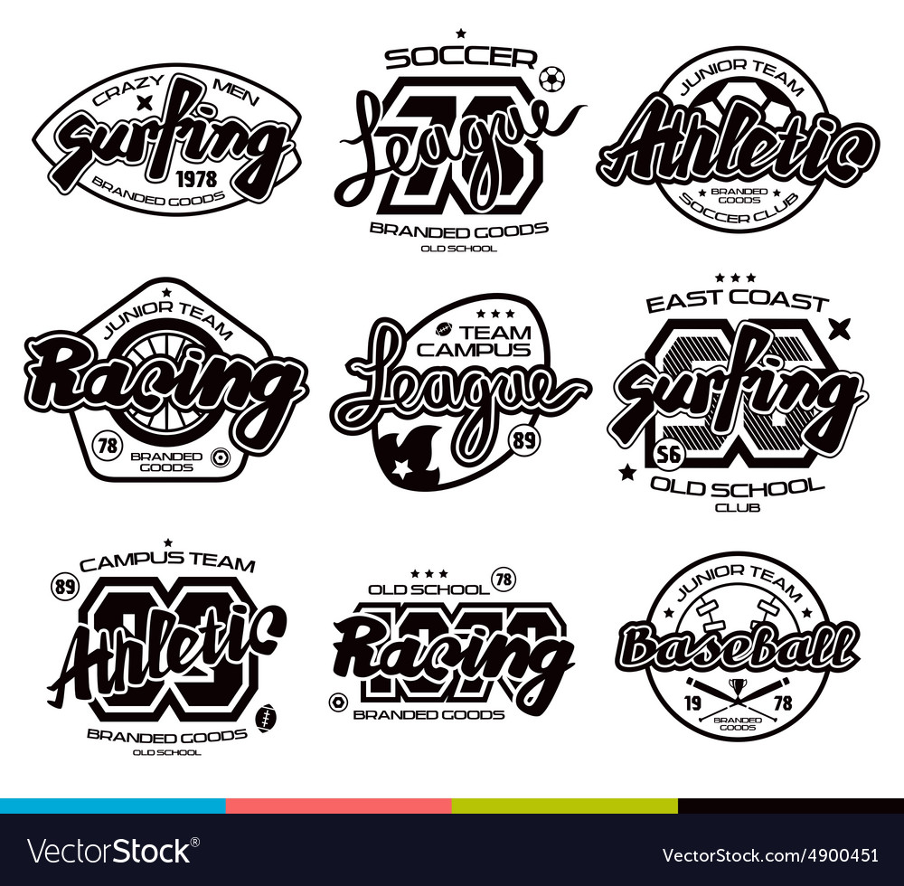 Design t shirts graphic - Set Of Sport Badges Graphic Design For T Shirt Vector Image