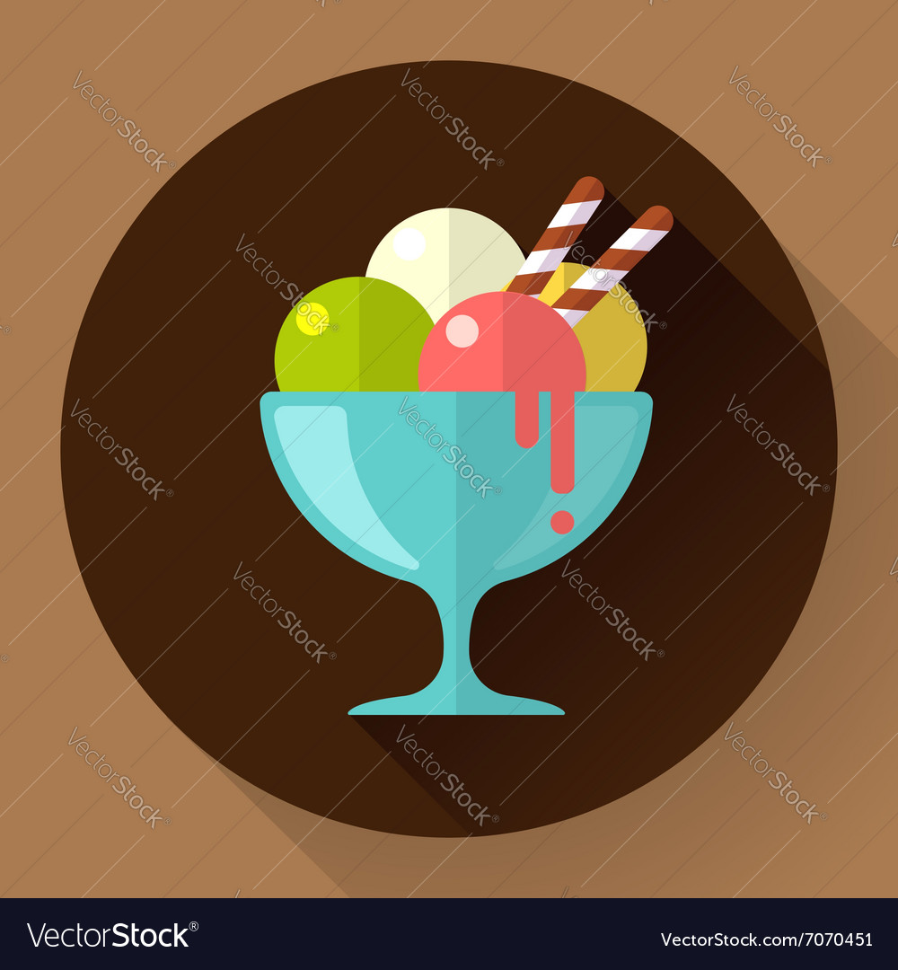 Ice Cream in glass cup icon Flat designed vector image