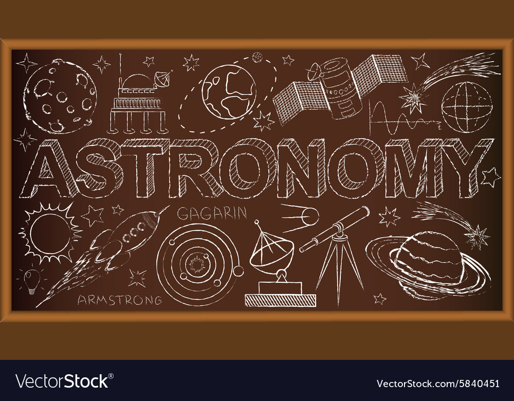 School board doodle with astronomy symbols vector image