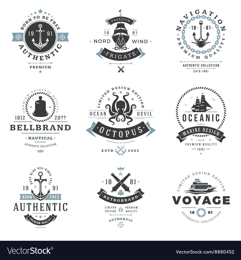 Nautical Logos Templates Set vector image