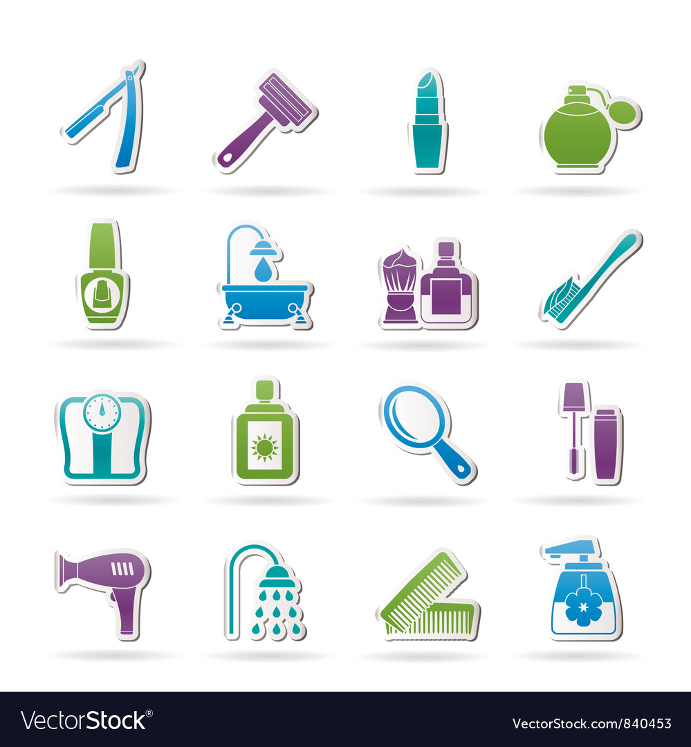 Body care and cosmetics icons vector image