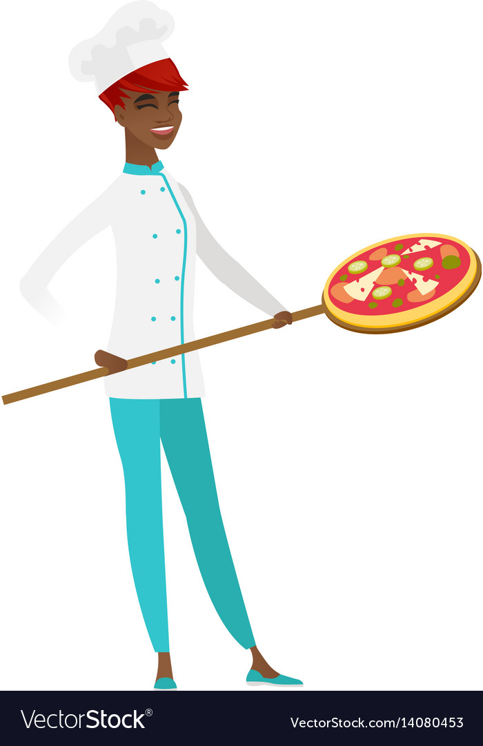 African-american chef cook preparing pizza vector image