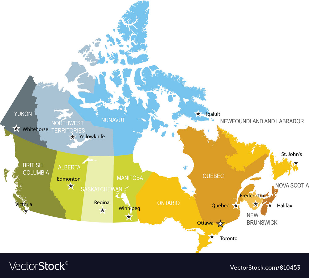 Map Of Provinces And Territories Of Canada Vector Image - Canada map in world map